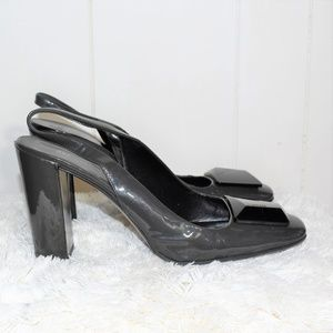 Jil Sander Grey Patent Leather Slingback Heel Pump